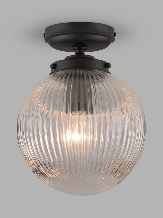 John Lewis & Partners Vintage Globe Flush Outdoor Light, Clear/Black