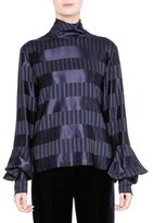 Giorgio Armani Striped Mock-Neck Bell-Sleeve Top, Navy