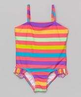 KensieGirl Rainbow Stripe Ruffle One-Piece - Toddler & Girls