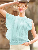 Victoria's Secret Lace Embroidered Flutter Top