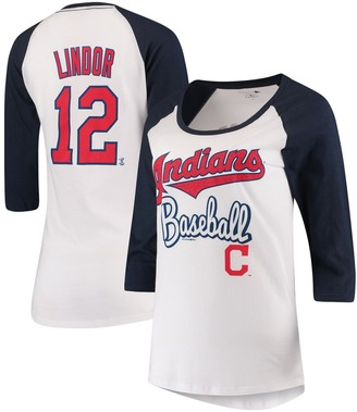 New Era Women's 5th & Ocean by Francisco Lindor White/Navy Cleveland Indians Glitter 3/4-Sleeve Raglan T-Shirt
