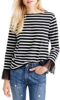 J.Crew Women's Tulle Cuff Stripe T-Shirt