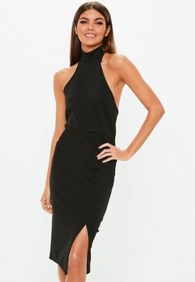 Missguided Black Choker Midi Dress
