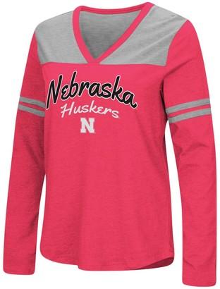 Colosseum Women's Scarlet Nebraska Cornhuskers Core Sleeve Stripe V-Neck Long Sleeve T-Shirt