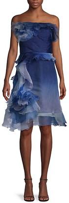 Marchesa Ombre Ruffled Silk-Blend Cocktail Dress