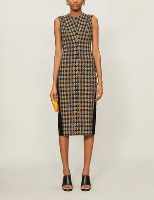 Victoria Beckham Tweed-overlay cotton-blend and woven midi dress