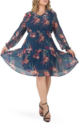 Standards & Practices Prairie Chiffon Long Sleeve Dress