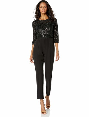 Adrianna Papell Women's Crepe and Sequin Jumpsuit