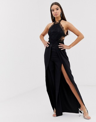 Love Triangle halter neck open back jumpsuit with thigh split in black