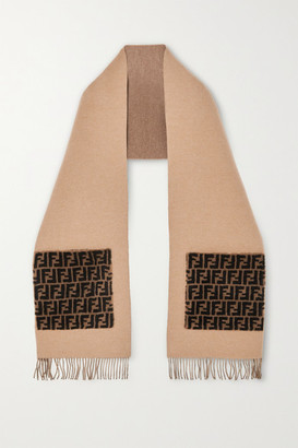 Fendi Printed Shearling-trimmed Wool And Cashmere-blend Scarf - Pink