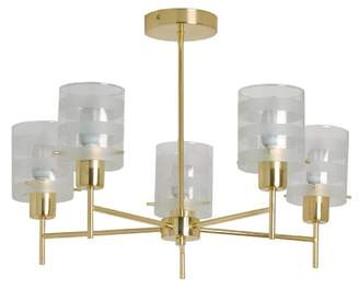 TP24 Tallinn 5 Arm Pendant Light Fitting in Satin Brass Finish with Clear/Frosted Striped Glass