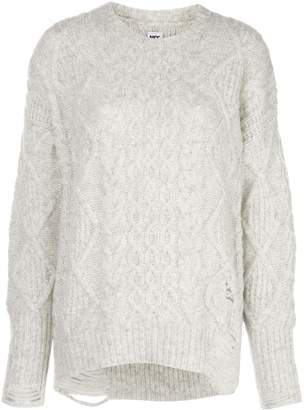 NSF Anabell distressed cable-knit jumper
