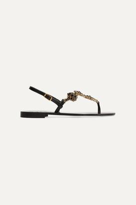 Musa Four Flower Crystal-embellished Leather Slingback Sandals - Black