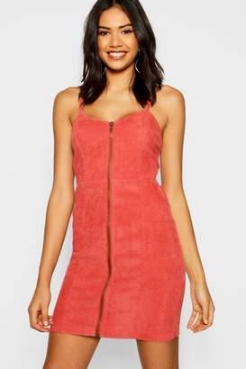 boohoo Zip Front Cord Dress