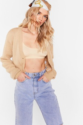 Nasty Gal Womens Knit the Floor V-Neck Cropped Cardigan - Beige - L, Beige