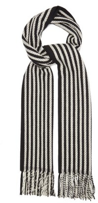 Saint Laurent Stripe-jacquard Fringed Cashmere Scarf - Black White