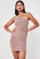Missguided Blush Slinky One Shoulder Ruched Bodycon Mini Dress
