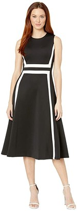 Calvin Klein A-Line Color Block Dress (Black/Cream) Women's Dress