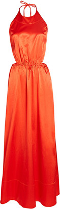 STAUD Sidney Satin Cotton-Blend Maxi Dress