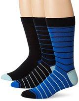 Ben Sherman Men's 3 Pack Nigel Crew Socks, Black/Royal, One Size