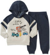 Kids Headquarters 2-Pc. Colorblocked Graphic Hoodie & Jogger Pants Set, Baby Boys