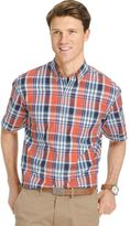 Izod Men's Saltwater Classic-Fit Plaid Poplin Performance Button-Down Shirt