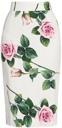 Dolce & Gabbana Rose Print Cady Tubino Skirt