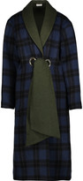 Suno Belted plaid wool-blend coat