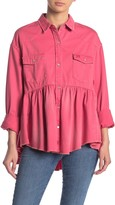 Free People Dylan Button Down Babydoll Top