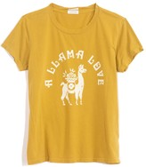 Mother The Boxy Goodie Goodie Tee in Green Sulphur A Llama Love