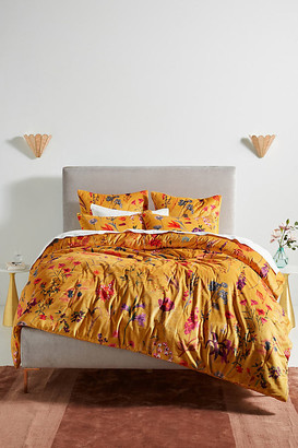 Anthropologie Layne Velvet Quilt By in Yellow Size TW TOP/BED