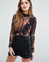 Vero Moda Floral Mesh Ruffle Top