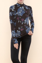 Free People Mock Neck floral Tee