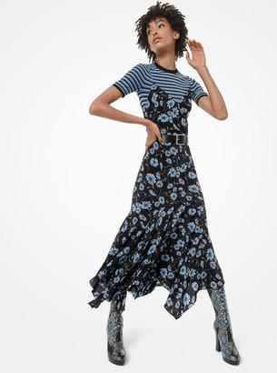 Michael Kors Daisy Silk Crepe De Chine Handkerchief Slip Dress