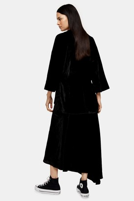 Topshop Womens **Black Velvet Bias Skirt By Black
