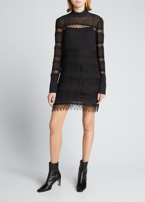 Frame Nora Pintucked Lace Insert Shift Dress