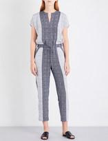 St. John Geometric-print stretch-silk jumpsuit