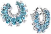 Macy's Blue Topaz (6-2/5 ct. t.w.) & Diamond (9/10 ct. t.w.) Drop Earrings in 14k White Gold
