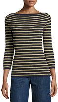 Michael Kors Metallic-Stripe Boat-Neck Sweater, Maritime/Gold