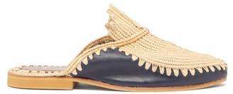 Kilometre Paris - Raffia And Leather Babouche Slippers - Womens - Navy