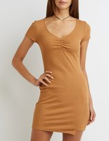 Charlotte Russe Ruched Asymmetrical Slit Dress