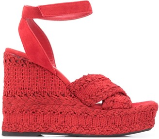 Paul Warmer Open Toe Braided Wedge Espadrilles