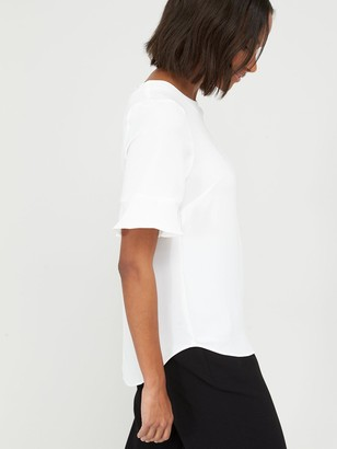 Very Fluted Short Sleeve Top - Ivory