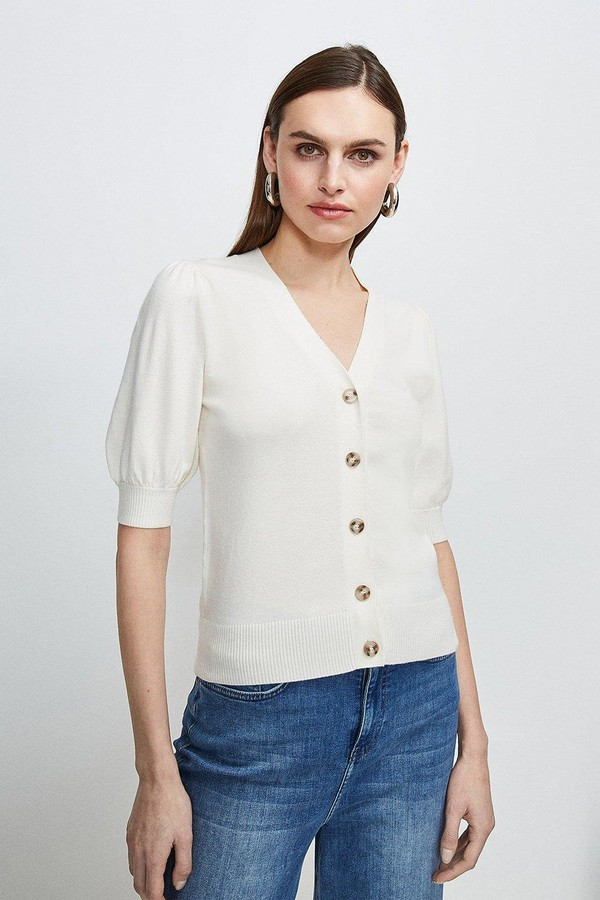 Karen Millen Short Puff Sleeve Knitted Cardigan