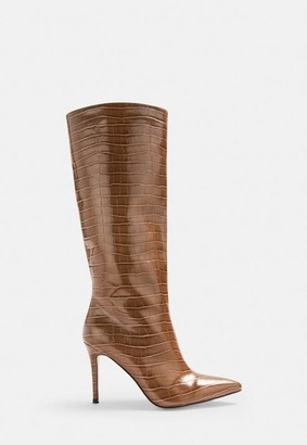 Missguided Tan Croc Effect Knee High Boots
