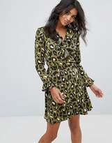 Liquorish Wrap Front Dress In Leopard Print