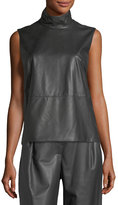 Max Mara Sleeveless Mock-Neck Leather-Front Top