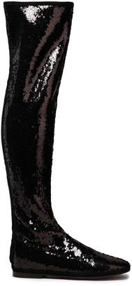 Giuseppe Zanotti Cika Sequined Stretch-velvet Over-the-knee Boots