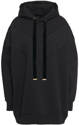 Mother of Pearl Wynona Oversized Fringe-trimmed Organic Cotton-fleece Hoodie
