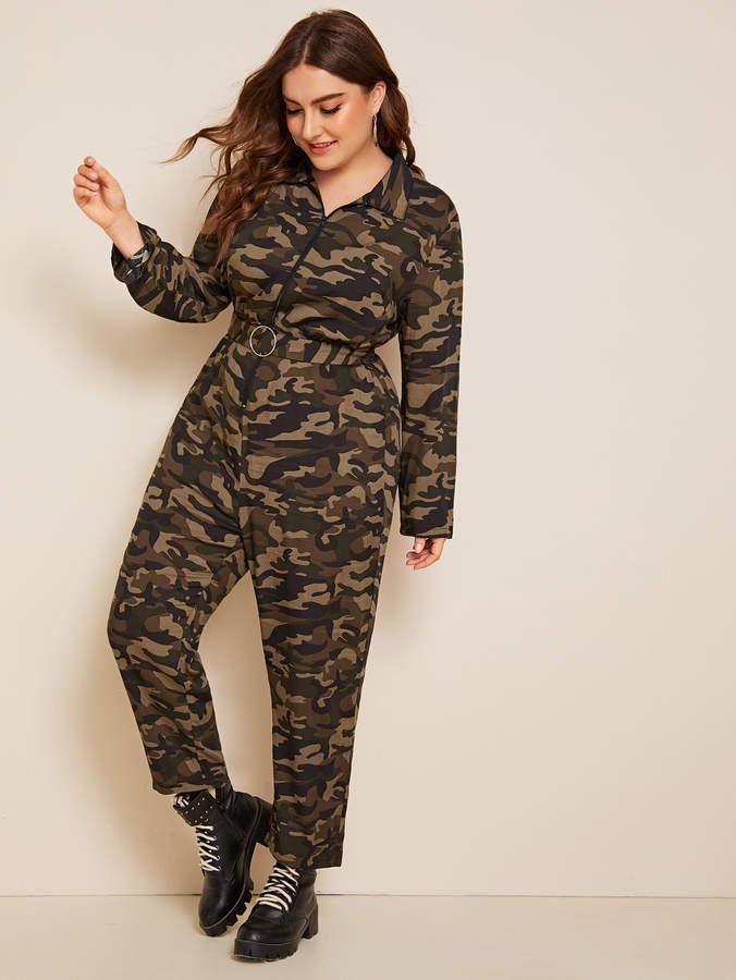 04f304fc4f Plus Zipper Front O-ring Belt Camo Print Jumpsuit